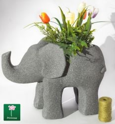 H33cm Grey Fibrecotta Elephant Planter With Sandstone Finish - By Primrose®