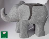 H33cm Grey Fibreclay Elephant Planter With Sandstone Finish - By Primrose®