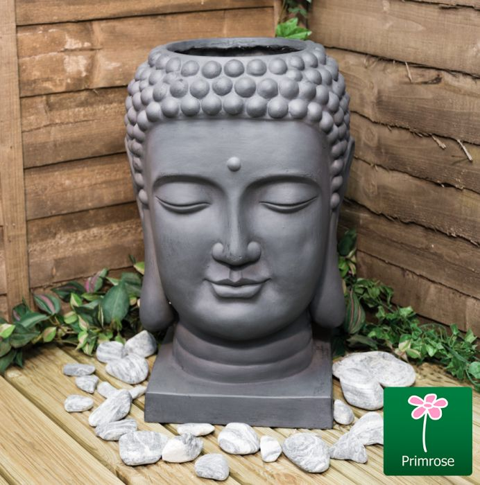H58cm Buddha Head Grey Fibrecotta Planter - By Primrose™
