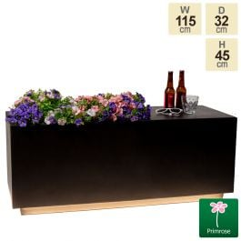 115cm Black Fibrecotta Rectangular Planter with LED Lights