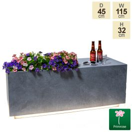 115cm Grey Fibrecotta Rectangular Planter with LED Lights