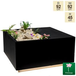 92cm Black Fibrecotta Square Planter with LED Lights