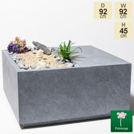92cm Grey Fibrecotta Square Seat Planter