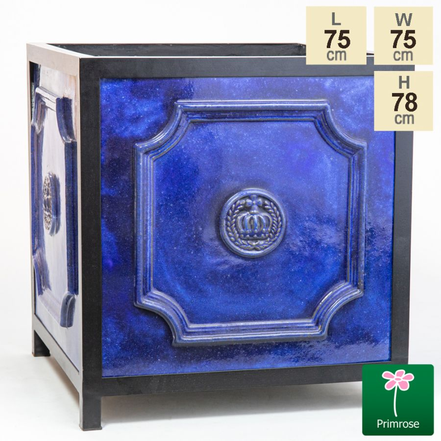 78cm Glazed Royal Blue Ceramic Cube Planter - Extra Large