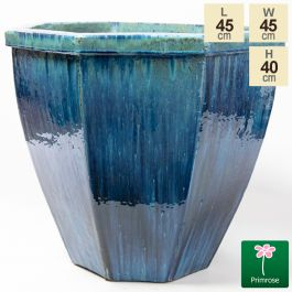 40cm Glazed Jade Ceramic Octagon Planter - Small