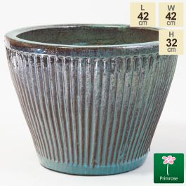 32cm Linear Jade Glazed Ceramic Bowl Planter - Small