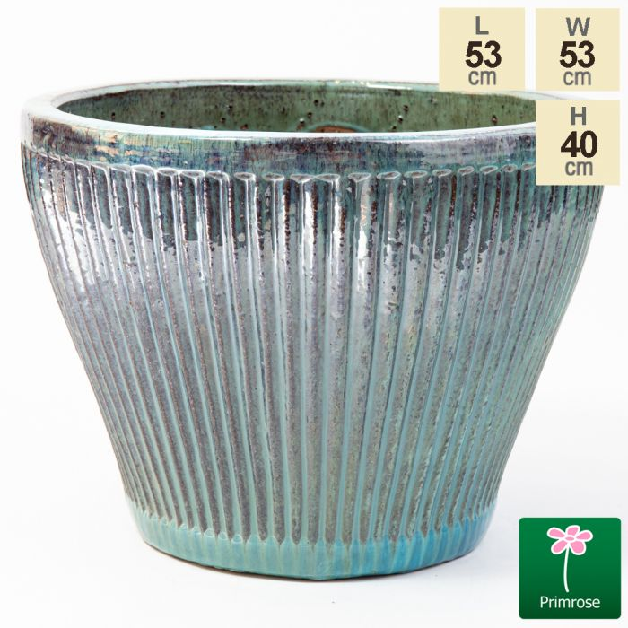 40cm Linear Jade Glazed Ceramic Bowl Planter - Large