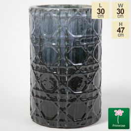 47cm Thales Glazed Grey Ceramic Geometric Print Tall Planter - Small