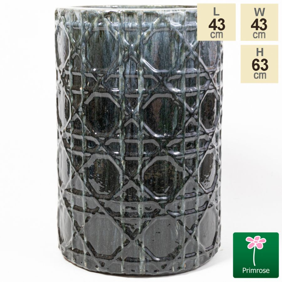 63cm Thales Glazed Grey Ceramic Geometric Print Tall Planter - Large