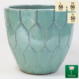 50cm Tile Effect Glazed Blue Ceramic Bowl Planter - Large