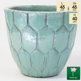 40cm Tile Effect Glazed Blue Ceramic Bowl Planter - Small