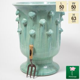 63cm Glazed Blue Ceramic Urn Planter - Large