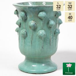 40cm Glazed Turquoise Ceramic Urn Planter - Small