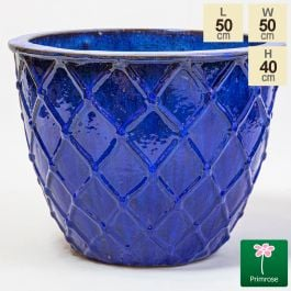 40cm Estella Glazed Dark Blue Ceramic Round Planter - Large