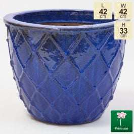 33cm Estella Glazed Dark Blue Ceramic Round Planter - Small