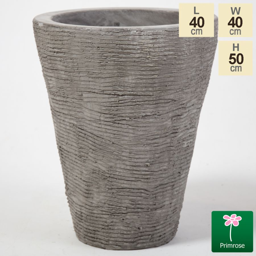 50cm Stackable Scrape Texture Concrete Flared Planter - Small