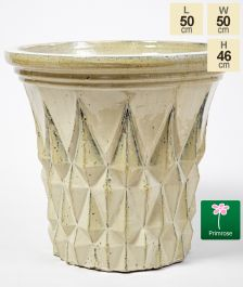 46cm Barcelona Glazed Yellow Ceramic Geometric Flared Pattern Planter