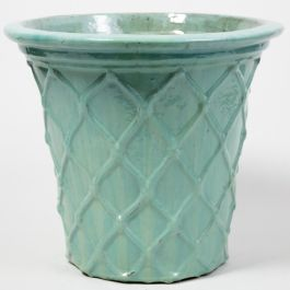 46cm Estella Glazed Light Blue Ceramic Geometric Pattern Flared Planter