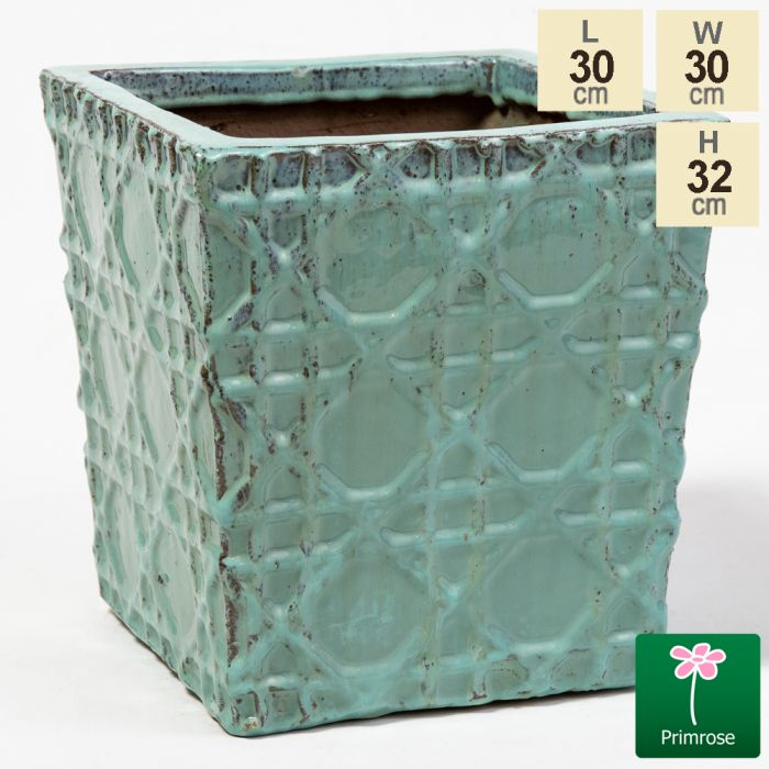 32cm Thales Glazed Blue Geometric Pattern Cube Planter - Small