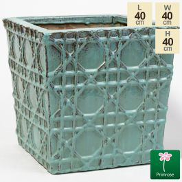40cm Thales Glazed Blue Geometric Pattern Cube Planter - Medium