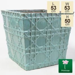 50cm Thales Glazed Blue Geometric Pattern Cube Planter - Large
