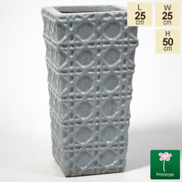 50cm Thales Glazed Grey Ceramic Geometric Pattern Tall Planter - Small