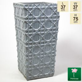75cm Thales Glazed Grey Ceramic Geometric Pattern Tall Planter - Large