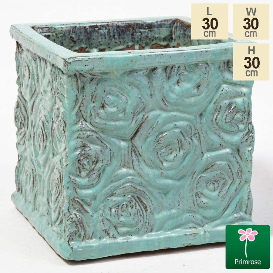 30cm Glazed Blue Ceramic Rose Patterned Cube Planter - Small