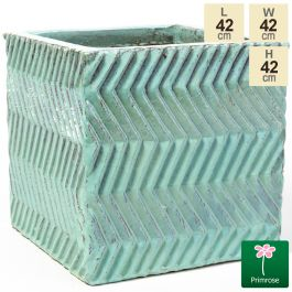 42cm Glazed Blue Ceramic Zig Zag Pattern Cube Planter - Large