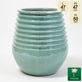 50cm Glazed Blue Ceramic Planter