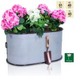 L91cm Abingdon Vintage Zinc Trough Planter by Primrose™
