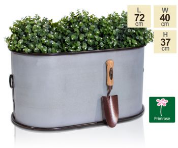 L72cm Abingdon Vintage Zinc Trough Planter by Primrose™