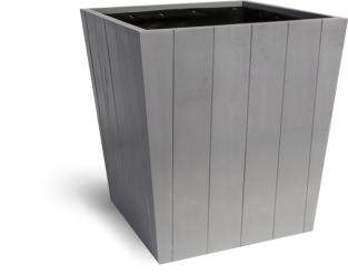 37cm Hardwood Tapered Planter Cool Grey