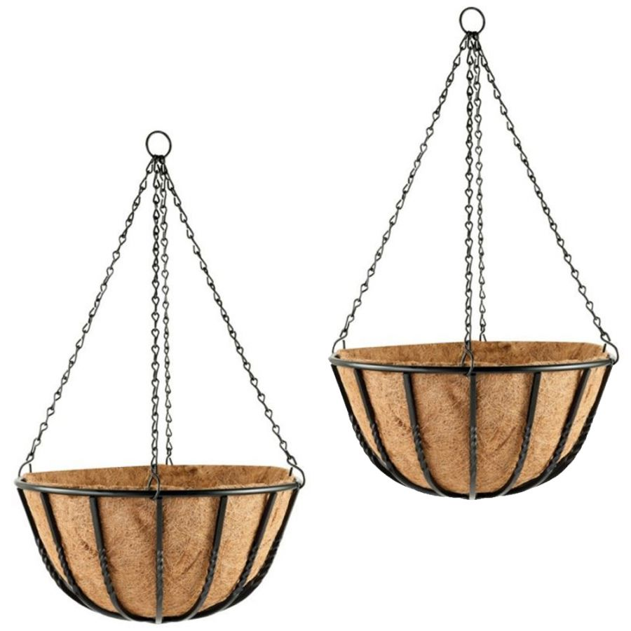 Set of Two 35cm Blacksmith Hanging Basket Planters by Gardman