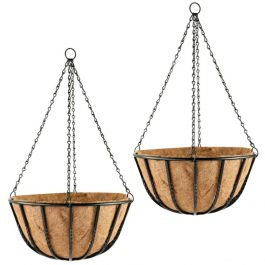 Set of Two 40cm Blacksmith Hanging Basket Planters by Gardman