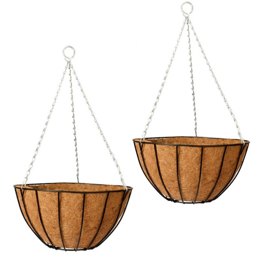 Set of Two 35cm Classic Hanging Basket Planters by Gardman