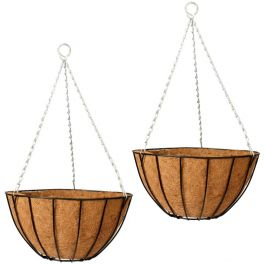 Set of Two 40cm Classic Hanging Basket Planters by Gardman