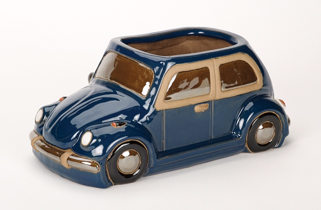 L36cm Beetle Car Planter in Glazed Blue