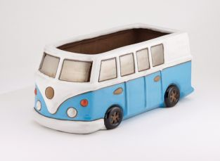 L38cm Camper Van Planter in Glazed Blue