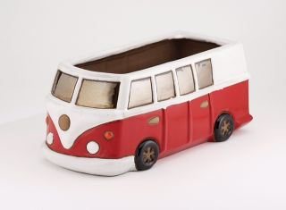 L38cm Camper Van Planter in Glazed Red