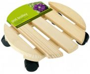 Round Wooden Garden Plant Pot Mover/Trolley - 30cm (12in)