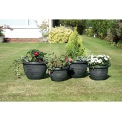 Gun Metal Grey Antique-Style Wenlock Planters - Set of 4