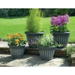 Black/White Wash Georgian-Style Planters - Set of 4