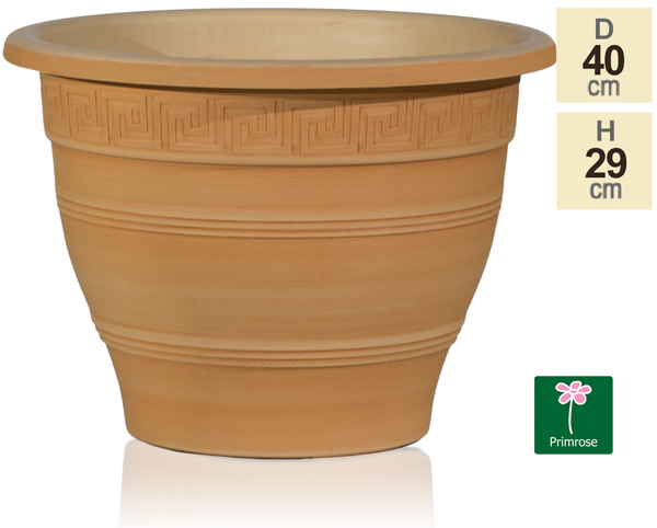 40cm Set of 2 Grecian Patterned Planters in Terracotta by Primrose™