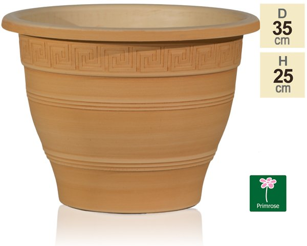 35cm Grecian Patterned Planter in Terracotta by Primrose™