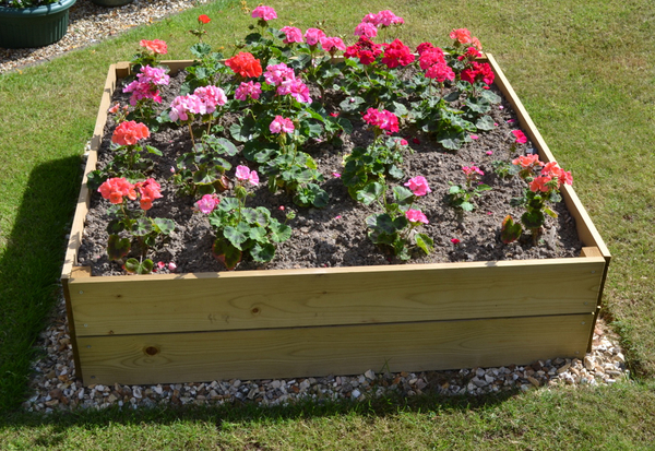 108 Litres - Wooden Timber Raised Square Grow Bed 2-Tier - 60cm² (H30cm)