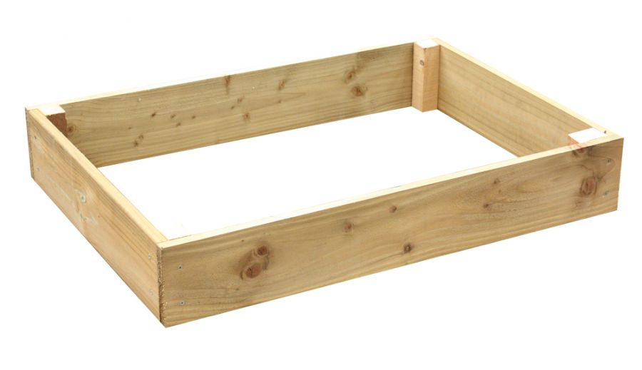 162 Litres - Wooden Timber Raised Rectangular Grow Bed Single Tier - 120cm x 90cm (H15cm)