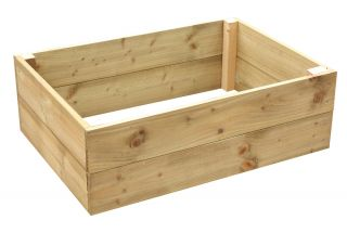 162 Litres - Wooden Timber Raised Rectangular Grow Bed 2-Tier - 90cm x 60cm (H30cm)