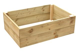 324 Litres - Wooden Timber Raised Rectangular Grow Bed 2-Tier - 120cm x 90cm (H30cm)