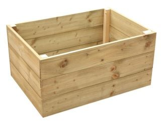 243 Litres - Wooden Timber Raised Rectangular Grow Bed 3-Tier - 90cm x 60cm (H45cm)
